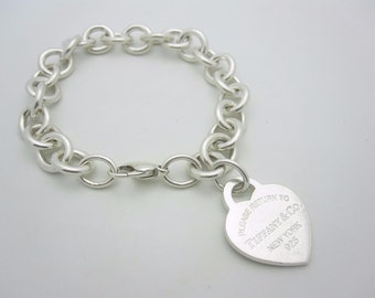 Please Return to Tiffany & Co. Sterling Silver Heart Tag Bracelet 7 1/2""