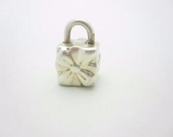 Tiffany & Co. Sterling Silver Gift Box Lock Charm Pendant