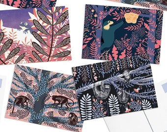 Pack of 8 Papio Press Jungle Postcards