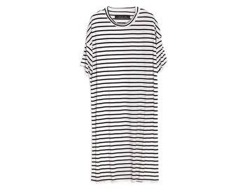 Pluse Size Dress , Tunic Shirt Dress , Striped Tee , Oversize Dress , Black and White