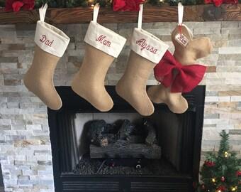 3 Regular/1 Pet Stocking- Family Stocking Bundle- Set of 4