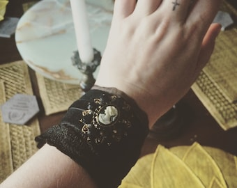 Faux velvet Victorian cuff bracelet