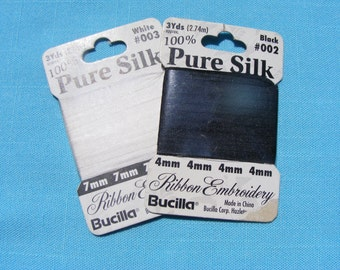 Bucilla Silk Ribbon Embroidery -  White-7mm -Black-4mm (3yds each) (2 packages)