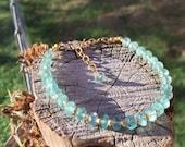 Aqua Blue Azurite Gold Bracelet