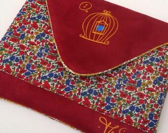 IPad sleeve Liberty Galaxy tab iPad Air case padded red embroidered bird