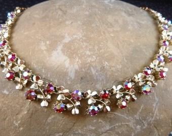Aurora Borealis Vintage Choker Necklace Signed Coro Large Rhinestones Nestled Among Three Leaf Clover Shamrocks Adjustable Length