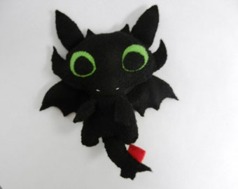 Felt Toothless Night Fury Dragon Plushie Softie Doll