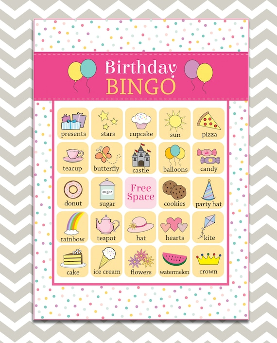 Printable Girl's Birthday Bingo 16 Unique Game Cards