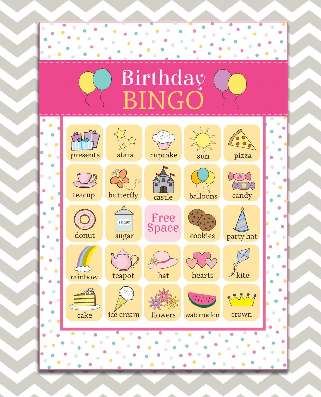 Printable Girl's Birthday Bingo 16 Unique Game Cards