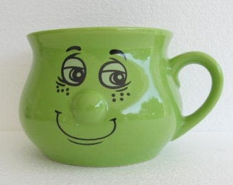 """The Happy Face 3D Nose"""" Have A Good Time"""" Lime Green Color Novelty Ceramic Mug"""