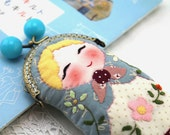 Matryoshka with Metal Frame,Coin Purse,Quilted Purse,Pale Blue,Pale Dot,Matryoshka Bag,Hand Embroidery Designs,Russian Doll,Gift Idea