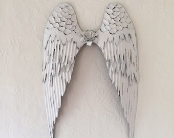 large Angel wings, metal shabby chic white, 25 x 16