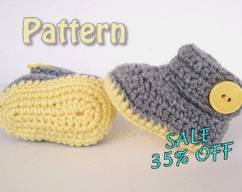CROCHET PATTERN for baby booties crochet pattern - Crochet pattern for baby slippers - pdf