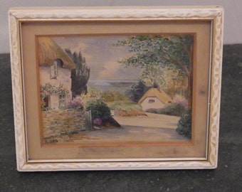 Vintage Original Miniature  Water colour Country Cottages and Sea View OOAK Cottages with sea Watercolour  Antique Water colour English View