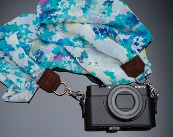 Luxury Silk Scarf Camera Neck Strap with Detachable Lobster Clasps