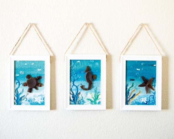 Sea glass brown and teal blue art beach coastal nursery room for Brown glass bathroom accessories
