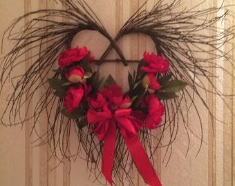 Valentine Heart, Heart Twig Wreath, Heart Wreath, Anniversary Wreath, Valentine Twig Heart Wreath, Valentine gift SKU V112