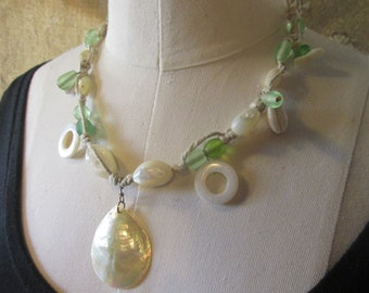 Mermaid Jewels shell and frosted glass Hemp necklace