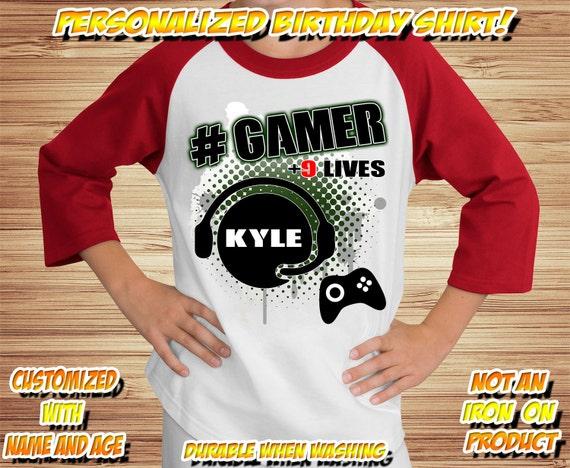 GAMER BIRTHDAY Raglan SHIRT (with age/name) Video Game  Video Game Party Shirt