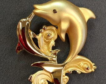 Fancy Dolphin Brooch Pin-So Eighties!  Free shipping