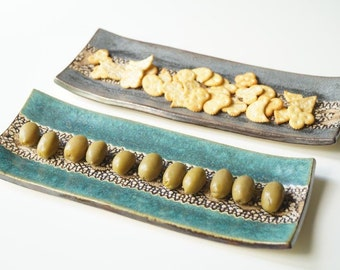 Chip and Dip Set, Serving Tray, Snack Set, Chip and Dip Plate, Snack Plate, Tapas Tray, Ceramic Plate, Ceramics and Pottery, Appetizer Tray