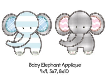 BABY ELEPHANT Appliqué Design - Machine Embroidery - Instant Download - Multiple Sizes