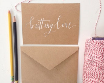 hand lettered, personalized stationery- set of 10 cards and envelopes