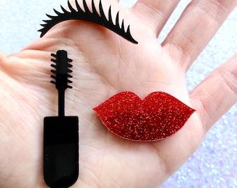 3 pcs - Retro Beauty Lips Mascara Eyelash Acrylic Resin Laser Cut Flatbacks - 13mm ~ 50mm - 3 Designs - Decoden - Pin Up