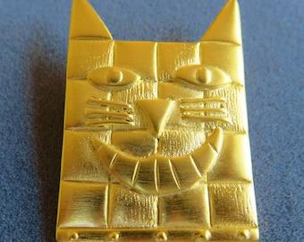 JJ Jonette Gold Tone Smiling Cheshire Cat Brooch Pin