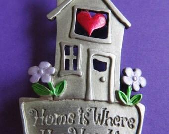 "JJ Jonette ""Home Is Where The Heart Is"" Brooch Pin"