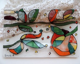 Fused glass plate,painted plate,soap dish,bathroom soap dish,colorful and unique
