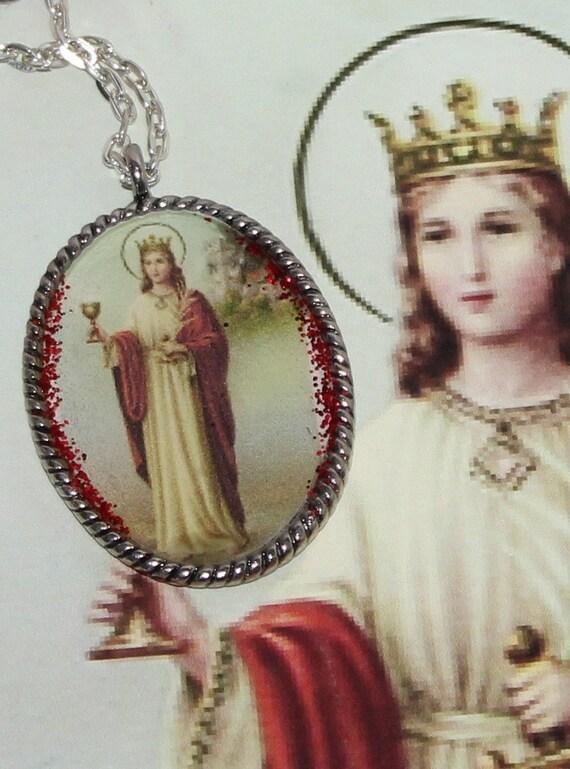 st barbara santa barbara oval unisex pendant necklace