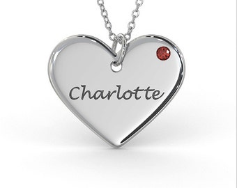 Heart Necklace with Birthstone in Sterling Silver (1.0mm Thick)