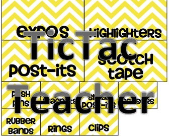 Printable Yellow and Gray Chevron Labels, Howser Script, Mac or PC, INSTANT DOWNLOAD