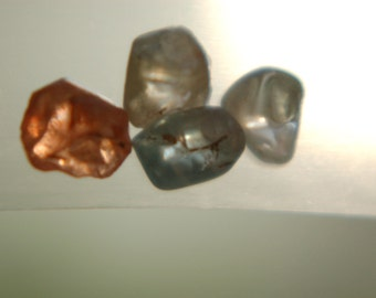 4 Natural Zircon crystals - 17.32 ct total weight - great Colors - very good Clarity - Transparent