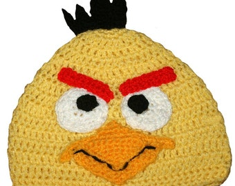 Yellow Angry Bird Inspired Hand Crocheted Hat
