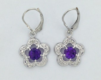 Natural Amethyst with Natural Diamond Earrings 925 Sterling Silver