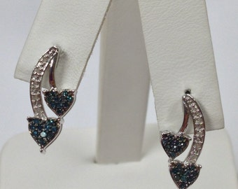 Natural Blue Diamond with White Diamond Earrings 925 Sterling Silver