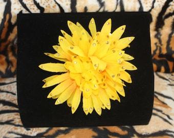 Yellow Rhinestone Hairclip Hair Flower Burlesque Pinup Autumn