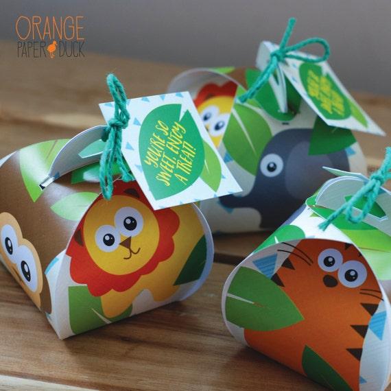 SAFARI JUNGLE Birthday Party Treat Sweet Curvy Favor Box