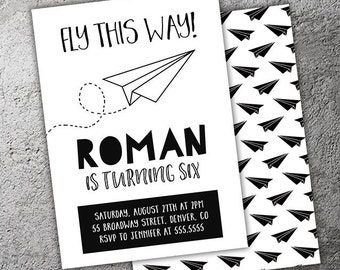Paper Airplane Monochrome Birthday Invitation - Printable - FREE matching back side
