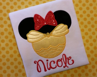 Minnie Belle Silhouette with a Red Bow on a White T-shirt. Inspired by Minnie Mouse, Belle and Disney.