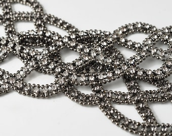 "Rhinestone with Ball Chain Applique, 9"" wide, TR-11156"