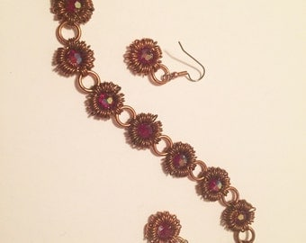 Copper chainmaille bracelet and earrings set