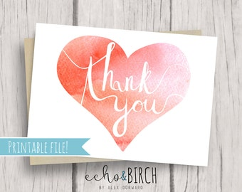 """PRINTABLE Blank Thank You Card   5x7""""   Instant Download   Printable Stationery"""