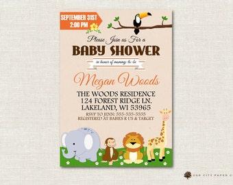 Safari Baby Shower Invitation, Jungle Shower Invitation, Safari Invitation, Baby Animal Baby Shower Invite, DIY, Instant Download, Editable