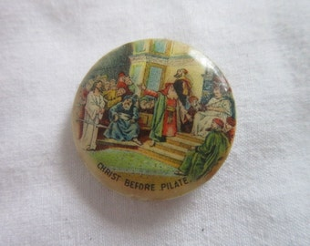 1896 Antique Whitehead & Hoag Celluloid Pinback Button Christ Before Pilate