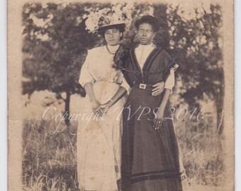 Vintage Photo RPPC- Black Americana- African American-Friendship