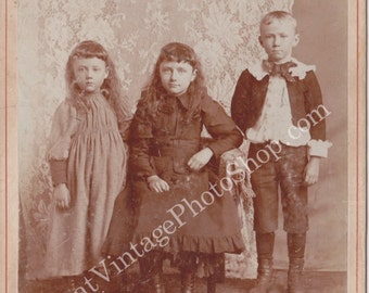 Vintage Cabinet Photograph- Lace curtain and Three Siblings