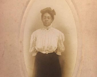 Gibson Style African American Woman Antique Cabinet Photo